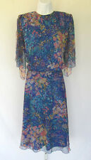 Vtg 1980s 90s Siasia New York Floral Skirt & Top Size Small Polyester Split Arms