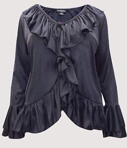Eaonplus NEW BLACK Long Ruffle Sleeve Ruffle Front Blouse Sizes 14-24-32-34