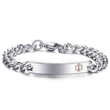 "8.26"" Personalized Engraving Stainless Steel Medical Alert Emergency ID Bracelet"