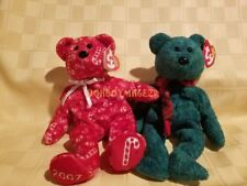 Ty Beanie Babies Baby Wallace and 2007 Candy Canes Christmas Bear animal LOT