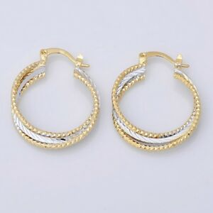 Cute New Yellow & White Gold Plated 2-Tone Textured Twisted Round Hoop Earrings