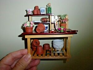 FILLED PLANT WORK TABLE - REUTTER PORCELAIN - DOLL HOUSE MINIATURE
