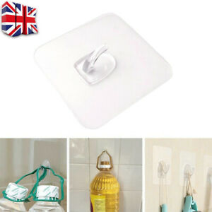 10x Super Strong Self Adhesive Wall Hooks Suction Cup Sucker Hanger Bathroom H