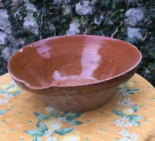 """Antique French Tian Mixing Province 15"""" bowl pottery Earthenware brown France"""