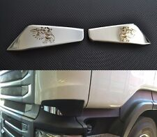 2x Mirror Stainless Steel Front Air Vents for Scania R Laser Engraved Griffin