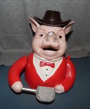 MR PIG BOSS HOG MECHANICAL CAST IRON BANK Shovels $$$ Into Mouth JOHN HARPER