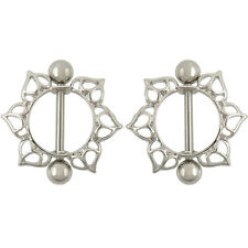 2x Surgical Steel Flower Circle Piercing Nipple Shield Ring Bar I*