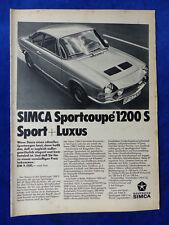 Simca Sportcoupe 1200 S - Werbeanzeige Reklame Advertisement 1967 __ (812