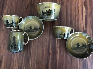 "Antique Royal Vista Ware Ridgways ""Paintings by Famous Artists""-tea set for 2"