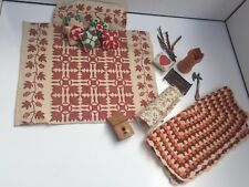 MIXED LOT CABIN COTTAGE BEDDING RUSTIC ITEMS DOLLS HOUSE DOLLHOUSE VINTAGE
