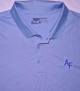 Mens EUC Slate Blue NIKE GOLF DRI FIT Air Force FALCONS Training Polo Shirt sz L