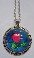 Halskette Rose  Anhänger Necklace Flower