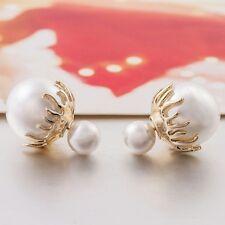 Stylish pearl double sided stud earrings