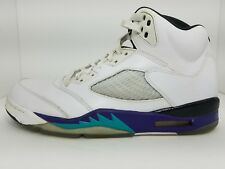 Nike Air Jordan 5 Retro LS WHITE EMERALD GRAPE 136027-108 11 -- LEFT SHOE ONLY
