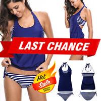 2019 2PC Striped Star Blue//White Padded Blouson Tankini Bikini Bathing Suit S-2X