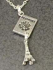 "Passport & Eiffel Tower Catherdal Charm Tibetan Silver with 18"" Necklace BIN"