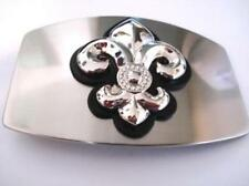 Fleur De Lis Belt Buckle Silver Logo Vintage with Black Leather