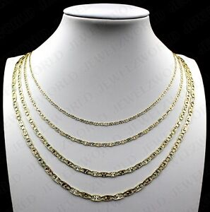 10K Tri-Color Solid Gold Valentino Chain Necklace 2mm, 3mm, 4mm or 4.5mm
