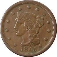 1855 Slanting 5's 1c Braided Hair Cent Penny US Coin VF Very Fine