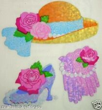 Sandylion Glittery LADIES HAT GLOVES SHOE ROSES Stickers *3 SQUARES* H04