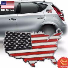 3D Zinc Alloy American USA Flag Map Style Car Emblem Badge Sticker Decal Metal
