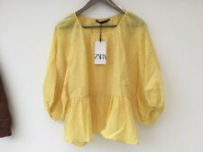 Zara XL Yellow Cotton Blend Blouse Top NEW Smock Relaxed Casual