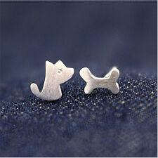 1 Paar Hund Knochen Ohrstecker Ohrring Ohrschmuck Silber Ear Studs