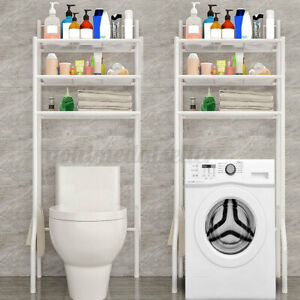 3Tier Toilettenregal Waschmaschinenregal Badezimmer Bad Regal WC Standregal Weiß