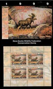 NOVA SCOTIA #8M 1999 MOOSE CONSERVATION STAMP MINI SHEET OF 4 IN FOLDER