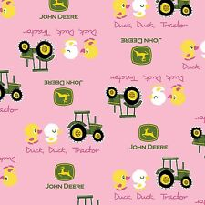 Springs ~ John Deere Tractor Ducks on Pink ~ 100% Cotton Quilt Fabric BTY