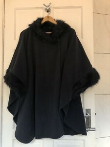 Marks & Spencer Cape Poncho Faux Fur Trim Once Size Navy Worn ONCE