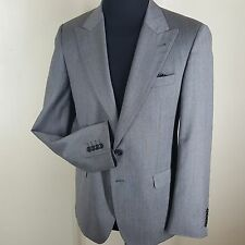 HALSTON Gray Sport Coat 2 Btn Peaked Lapels Side Vents 100% Wool 40 Reg