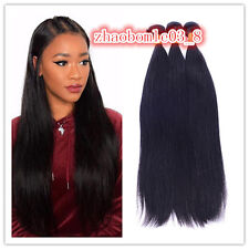 3Bundles100% Brazilian Remy Virgin straight wave Human Hair Extension weave weft