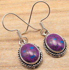 925 Silver Plated Oval Cabochon PURPLE COPPER TURQUOISE Girls Fashion Earrings
