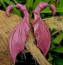 PURPLE BAT WINGS Fake gauge earrings purple HEART wood  SPLIT GAUGE EARRINGS
