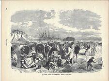 Original 1893 Print of Woodcut Engraving/Seaside scene-Schevening, South Holland