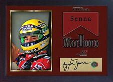 AYRTON Senna campione del mondo Firmato Autografato cimeli di Formula 1 incorniciato # 12