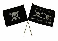 "12x18 12""x18"" Wholesale Combo Pirate Crossbones Skull & Death Zone Stick Flag"