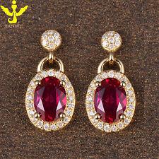 Stunning 2.31ct Solid 14k Yellow Gold Ruby Good Diamond Fine Earrings Jewelry