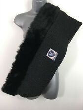WOMENS SUPERDRY CHARCOAL BLACK CHUNKY KNIT FAUX FUR SCARF SNOOD WINTER ONE SIZE