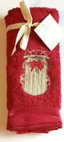 Sled Finger Tip Towels Red Embroidered Christmas Set of 2 Guest Bath Avanti