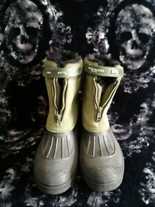 Cotton Traders Khaki Faux Fur Lined Snow Boots Zip Up, Size 4. Worn Twice Only!!