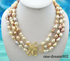 "Real 3row 21"" 16mm baroque white pink lavender reborn keshi pearl necklace"