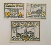 NEUBUKOW REUTERGELD NOTGELD 10, 25, 50 PFENNIG 1922 NOTGELDSCHEINE (12018)