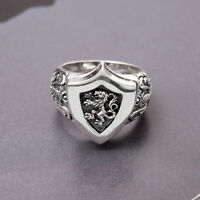 KING LION HEART KNIGHT SHIELD with Sword 925 STERLING SILVER Man Mens Ring