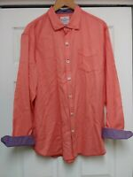 TOMMY BAHAMA Jeans Island Crafted Men Sz L Long Sleeve Button Front salmon shirt