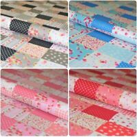 """Floral Gingham Spotted Patchwork Printed Poly Cotton Fabric Polycotton Craft 45"""""""