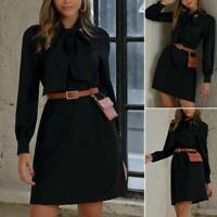 Womens Long Sleeve Belted Casual Party Prom Gown Cocktail Club A-Line Mini Dress
