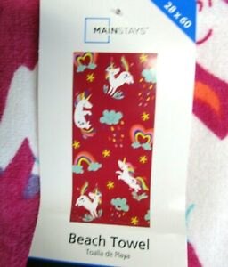 "BEACH TOWELS..HEARTS AND UNICORNS..28"" X 60""...100% COTTON"