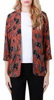 New Ladies Blazer Open Front Cardigan Floral Orange Lightweight Jacket